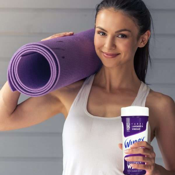 Wipex fitness lavendar Yoga lady holding canister