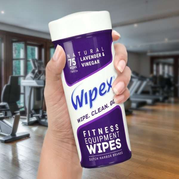Wipex fitness wipes lavender canister in hand