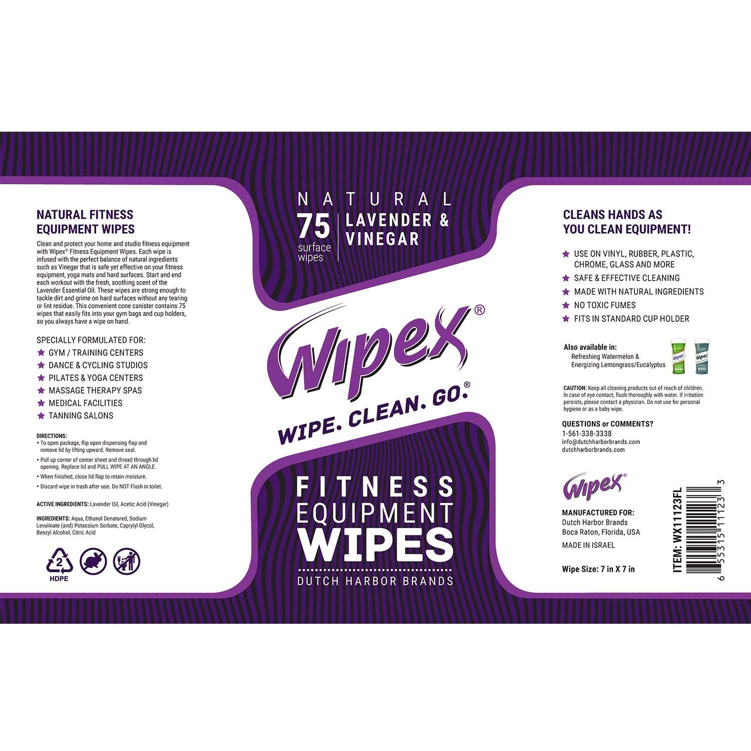 Wipex fitness canister label lavender scented