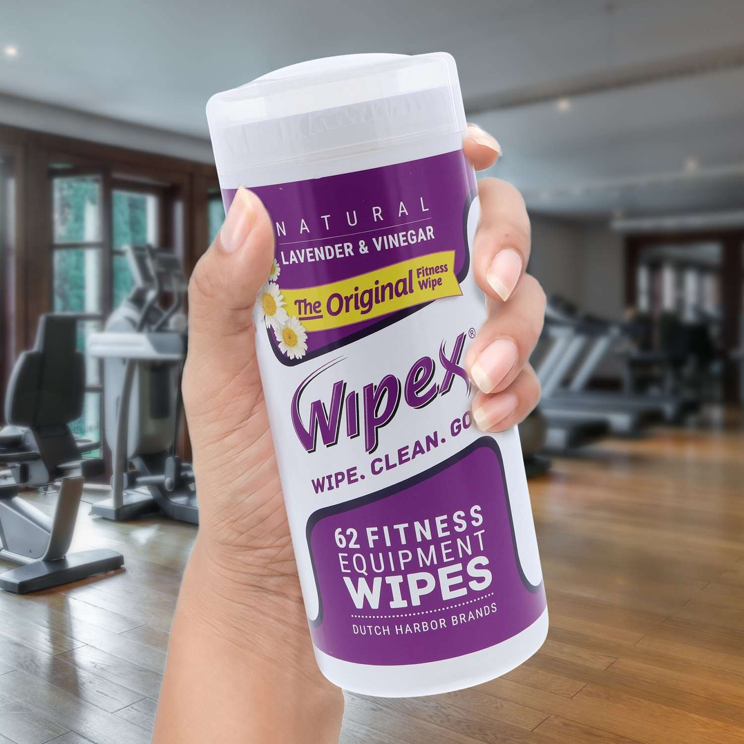 Wipex Original 62 count wipes canister in gym