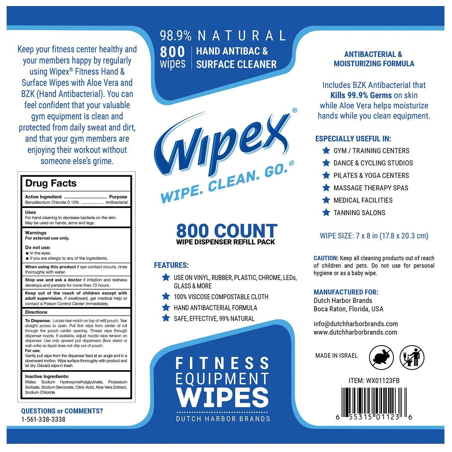 Wipex Gym Wipes for Fitness Equipment label