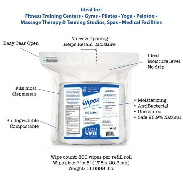 Wipex Gym Wipes for Fitness Equipment info chart