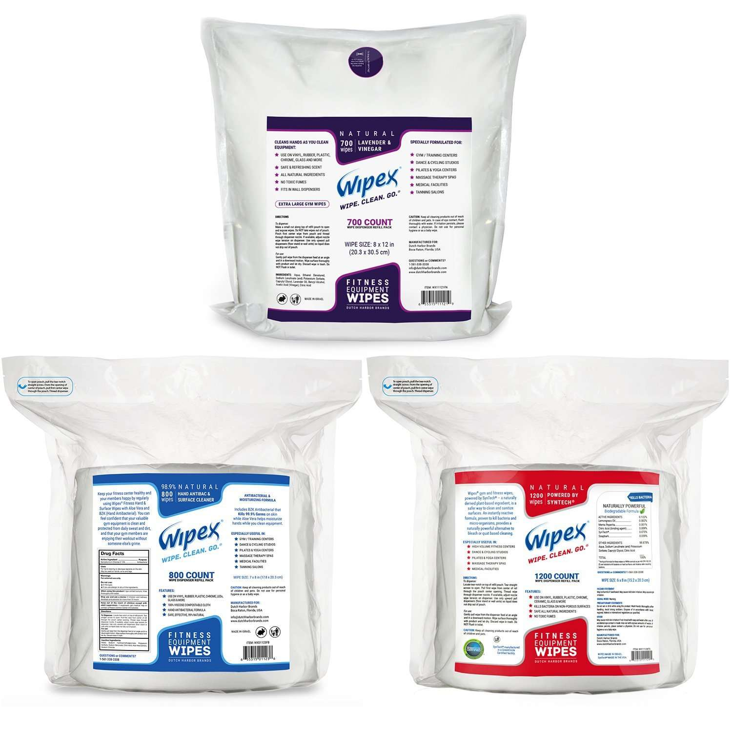 Wipex Gym Wipes for Fitness Equipment Refill Packs