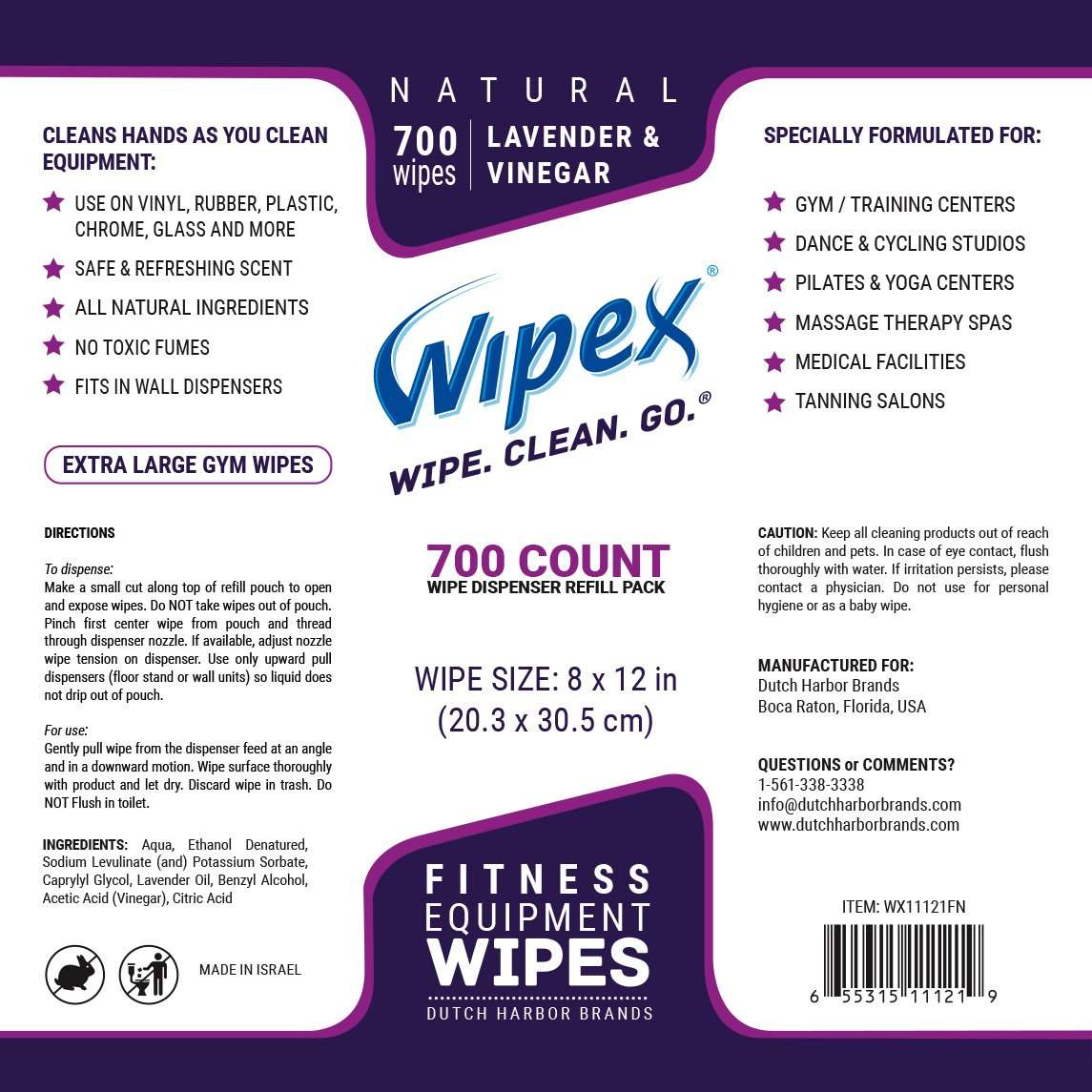 Wipex Gym & Fitness Equipment Wipes with Lavender & Vinegar Great for Yoga Studios