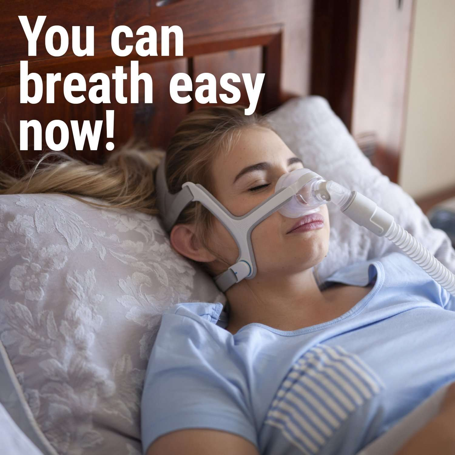 woman sleeping with cpap mask cleaned with AWOW wipes