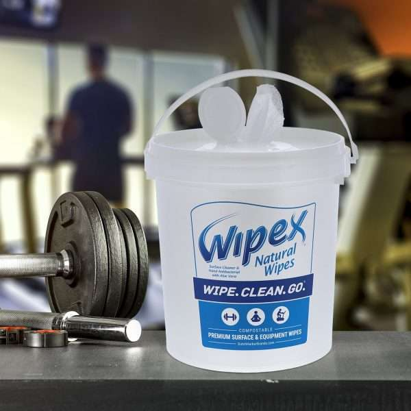 Wipex Surface Cleaning and Hand Antibacterial BZK Compostable Wipes BucketWipex Surface Cleaning and Hand Antibacterial BZK Compostable Wipes Bucket In Gym