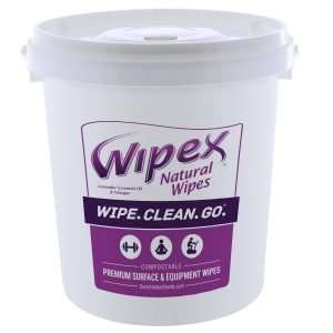 Wipex Lavender Surface and Equipment Wipes 400 Count Bucket - Front View With Lid