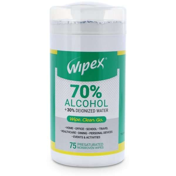 Wipex 70 percent alcohol wipes 75 count canister