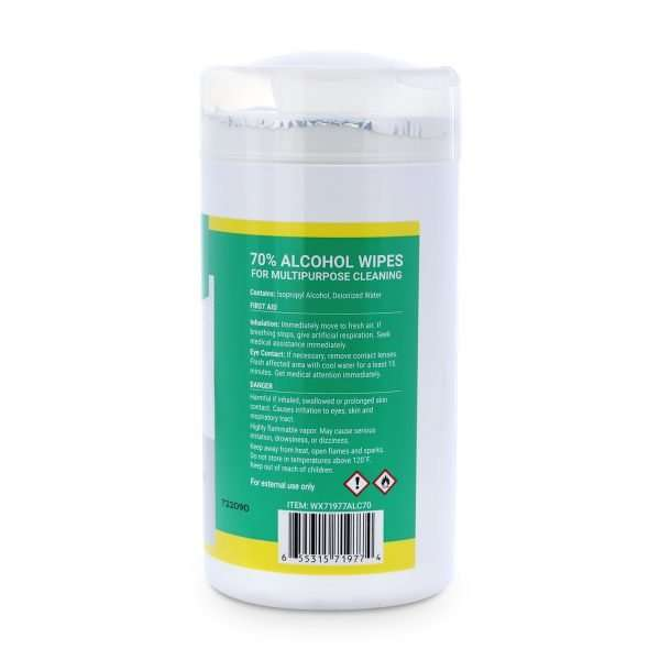 Wipex 70 percent alcohol wipes 75 count canister warnings on label