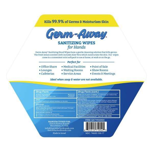 Germ-Away Hex Jar Back Label with description and drug facts