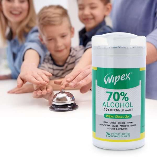 Wipex 70 percent alcohol wipes 75 count canister travel hotel vacation