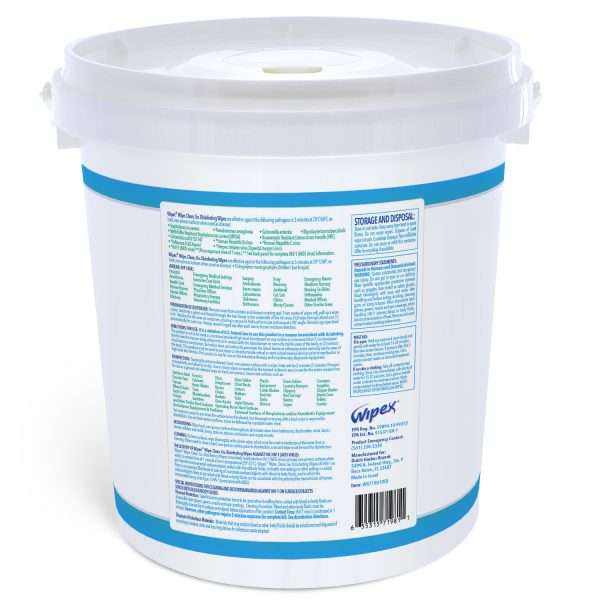 Wipex disinfecting surface wipes dispensing 800 count bucket label information